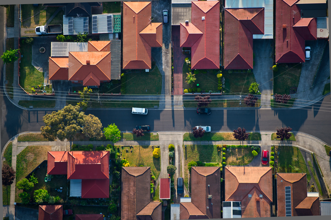 steel building in residential neighborhood